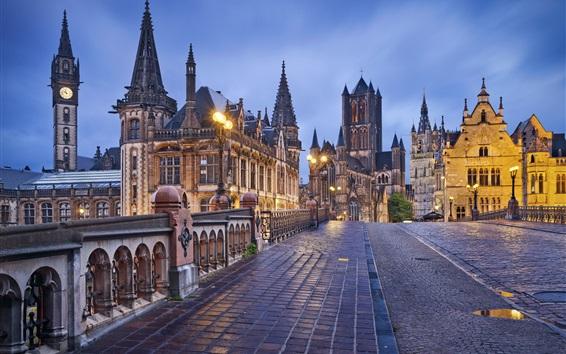 Wallpaper Ghent, Belgium, houses, bridge, lights, evening