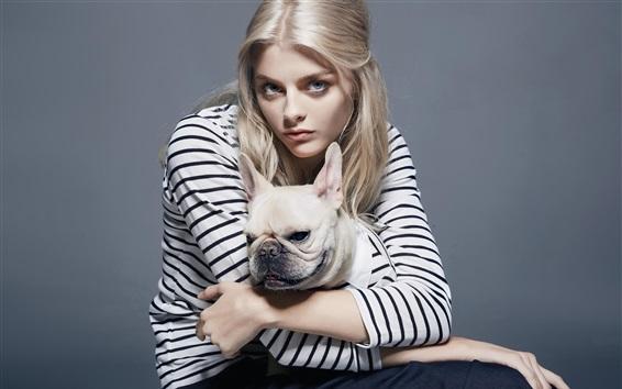 Wallpaper Girl and French bulldog