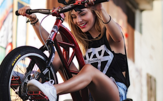 Wallpaper Girl riding a bike