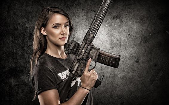 Wallpaper Girl use submachine gun, weapons
