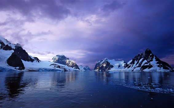 Wallpaper Glacier, snow, mountains, ocean, clouds, sunset, Antarctica