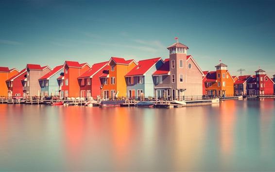 Wallpaper Holland, river, houses