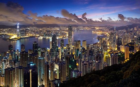 Fondos de pantalla Hong Kong ciudad vista nocturna, rascacielos, luces, la bahía