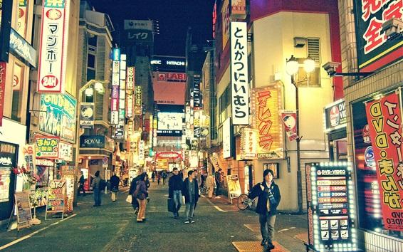 Papéis de Parede Japão, Tóquio, noite, rua, lojas, pessoas