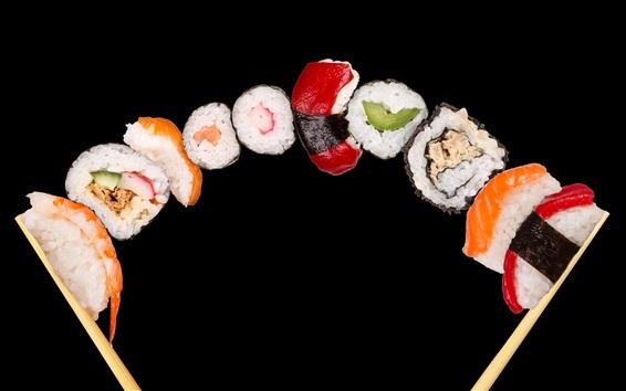 Обои Японская кухня, рисовые булочки, суши, морепродукты, черный фон