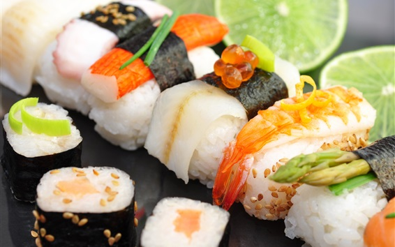 Wallpaper Japanese food, sushi, seafood, lime, red caviar, rice rolls