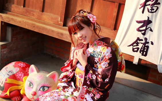 Wallpaper Japanese girl beautiful kimono