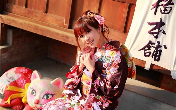 Обои Японская девушка красивая кимоно