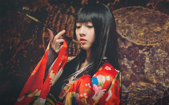 Wallpaper Japanese girl, kimono dress, smoking