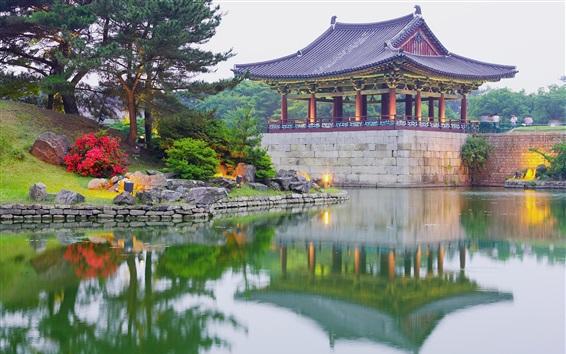 Wallpaper Korea, park, pavilion, lake, trees