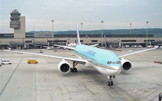 Wallpaper Korean Air, airport, Boeing 777 plane