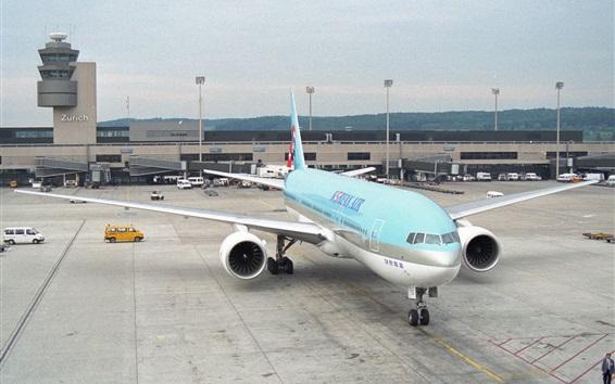 Papéis de Parede Korean Air, aeroporto, avião Boeing 777