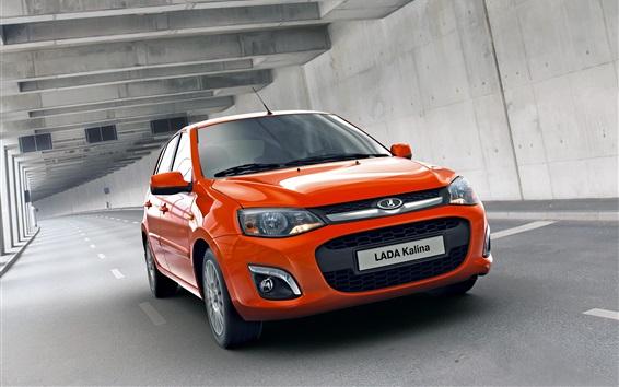 Wallpaper Lada Kalina orange car speed
