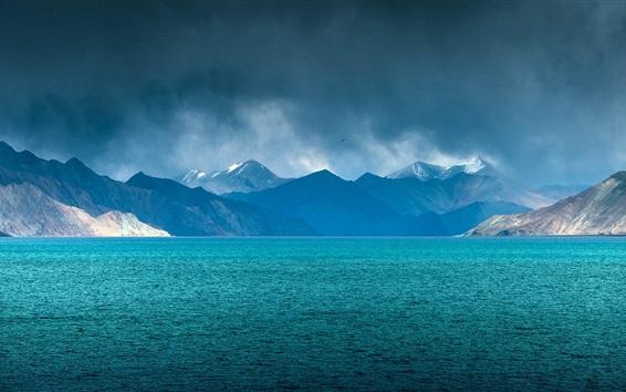 Wallpaper Lake, mountains, clouds, blue sky, dusk, bird flying