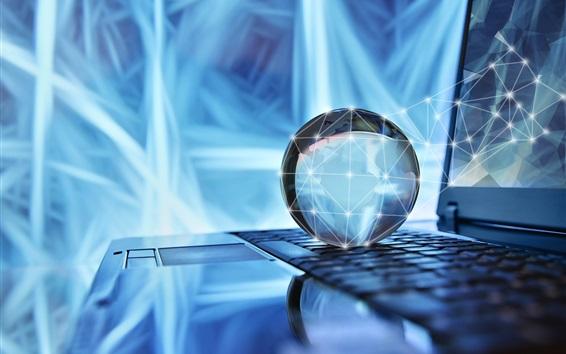 Fondos de pantalla Teclado portátil, esfera, luz, resplandor, pantalla, diseño creativo
