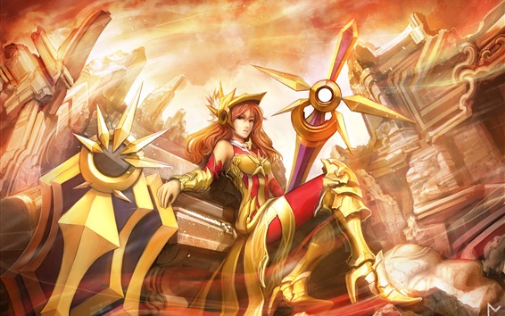 Fondos de pantalla Liga de Leyendas, guerrera chica, armadura de oro
