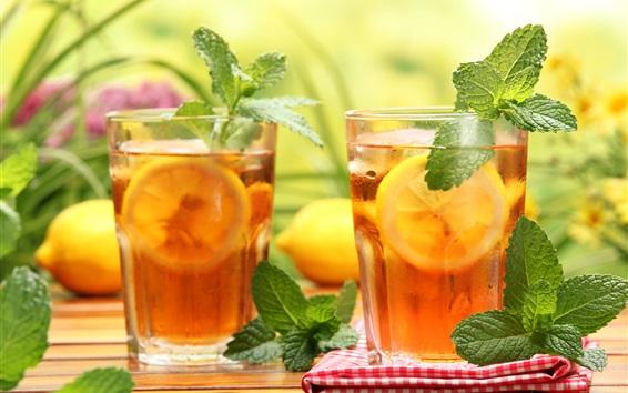 Wallpaper Lemon tea, drinks, glass cups, mint