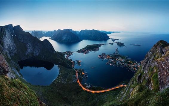 壁紙 ロフォーテン諸島、ノルウェー、フィヨルド、夜、山、道路、ライト