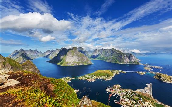 Wallpaper Lofoten Islands, mountains, houses, top view, sea, coast, Norway