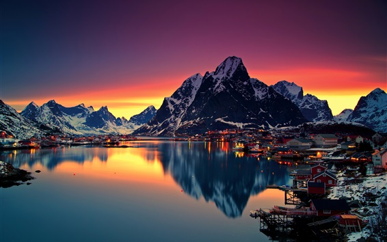 Wallpaper Lofoten, evening, sunset, mountains, lake, town, lights, Norway
