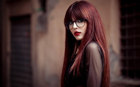 Wallpaper Long hair girl, glasses