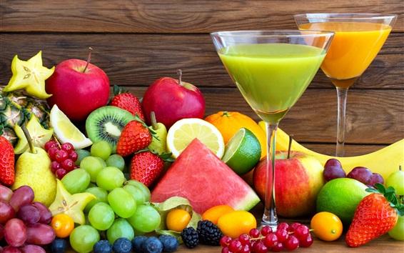 Обои Много фруктов, вкусная еда, напитки