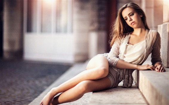Wallpaper Lovely girl sit on ladder, long hair, legs, romance style