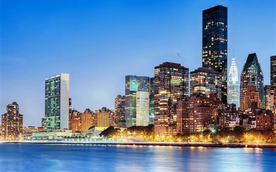 Wallpaper Manhattan, New York, USA, city, skyscrapers, river, lights, dusk