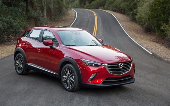 Wallpaper Mazda CX-3 red SUV car