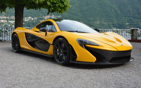 Wallpaper McLaren P1 yellow supercar side view