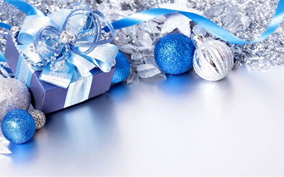 Wallpaper Merry Christmas, gift, balls, blue style
