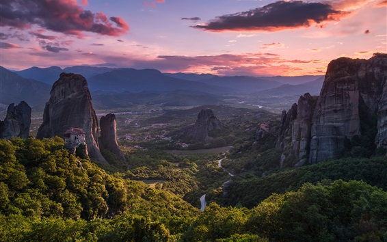 Wallpaper Meteora, Greece, beautiful nature landscape, mountains, valley, sunset