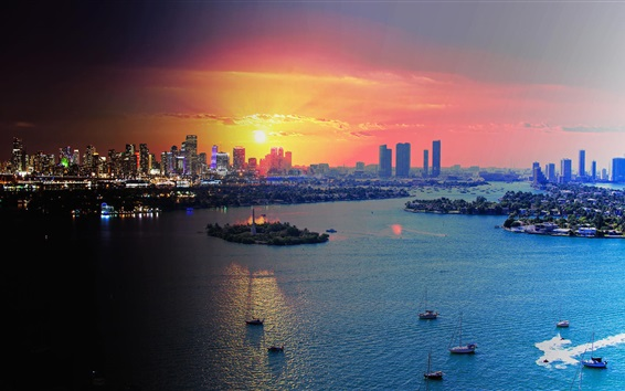 Wallpaper Miami, Florida, USA, city at sunset, skyscrapers, sea, boats