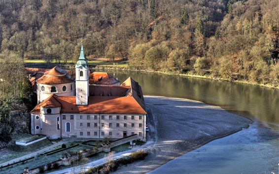 Wallpaper Monastery, Cathedral, river, trees, Germany