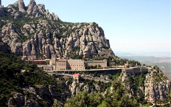 Fond d'écran Monastère, Montserrat, Espagne, montagnes, pierres