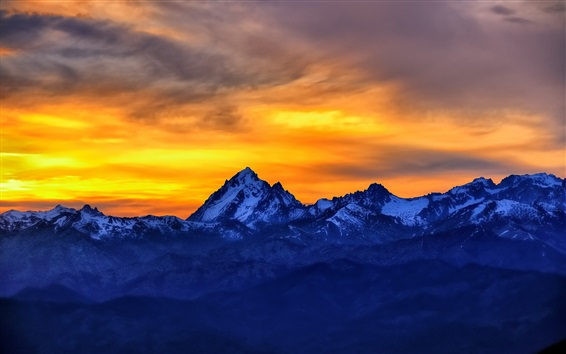 Wallpaper Mountains, sunset, red sky, snow, dusk