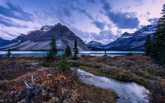 Обои Горы, деревья, лук-Лейк, Альберта, Канада, Национальный парк Банф