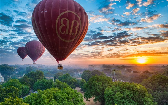 Wallpaper Myanmar, Bagan, trees, clouds, sky, sunset, balloons