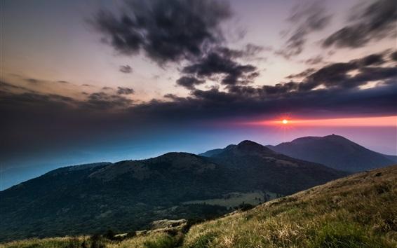 Обои Национальный парк, Тайвань, холмы, горы, закат, облака, закат