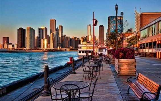 Обои Военно-морской пирс, Чикаго, США, залив, город, небоскребы