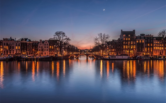 Wallpaper Netherlands at evening, city, houses, river, bridge, lights, moon