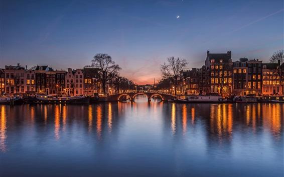 Fondos de pantalla Países Bajos en la noche, ciudad, casas, río, puente, luces, luna