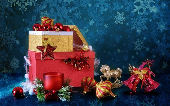 Wallpaper New Year and Christmas, boxes, candle, balls, bells, decoration