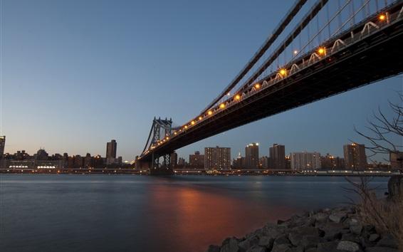 Wallpaper New York, city evening, river, bridge, buildings, lights