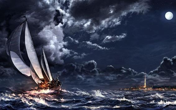 Fondos de pantalla Noche, mar, tormenta, velero, luna, ciudad, arte, dibujo