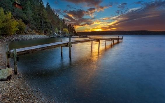 Обои Норвегия закат, берег, причал, река, лес