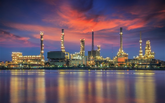 Wallpaper Oil refinery, water reflection, night, lights, Bangkok, Thailand
