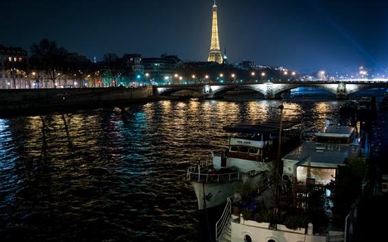 Wallpaper Paris night, France, Eiffel tower, river, boats, lights