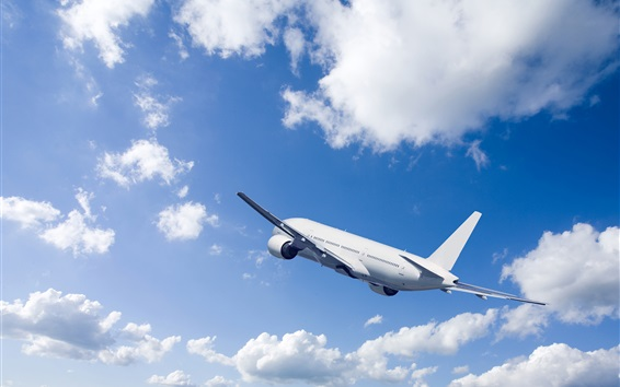 Passenger airplane, rise flight, blue sky, clouds Wallpaper Preview