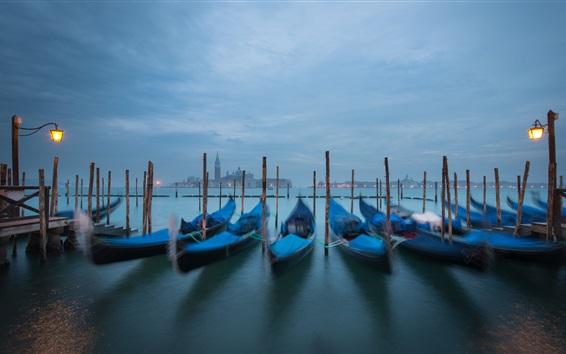 Piazza San Marco, Venise, Italie, canal, bateaux, nuit, lumières Fond d'écran Aperçu
